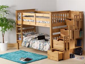 Mission Staircase Storage Bunk Bed in a waxed finish